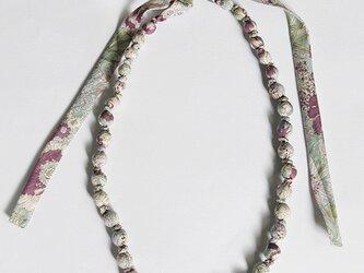 【sale】ラッピングネックレス 花柄 パープル ロングタイプの画像