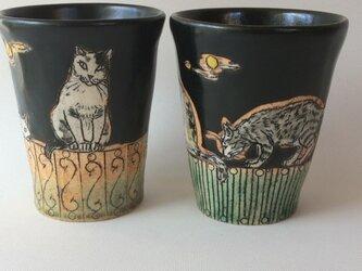 月夜の猫集会ビアマグペア(再販)の画像