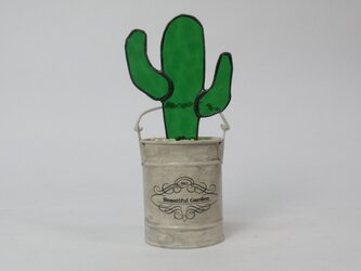 ステンドグラス ミニポッド サボテン Eの画像