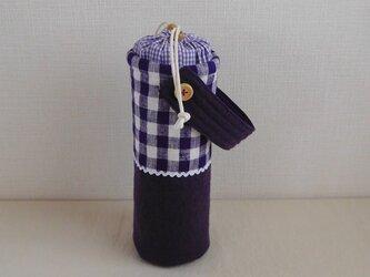 保温マグボトルケース 紫チェックの画像