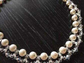 【スワロフスキー・クリスタル】フリルパールのネックレスの画像