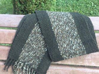 【風の猫】草木染手織りマフラーの画像