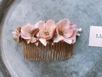 アンティークのゴールドリーフと布花のヘッドドレス サクラの画像