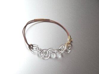 Round Chain Leather Braceletの画像