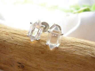 SV925 ハーキマーダイヤモンド ナチュラル スタッドピアス 天然石の画像