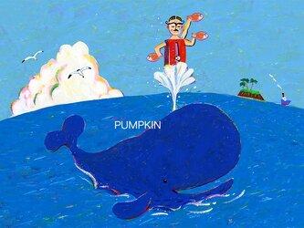 Mrマッスル-海トレ M-A4-07  アクリル画 CG イラスト   トレーニング  クジラ の画像