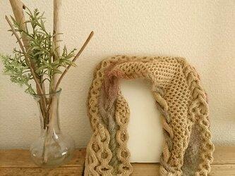 身につけるアート・なわ編みマフラー〈モヘヤグラデーション〉の画像