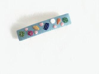 宝石刺繍のバレッタ(ブルー)の画像