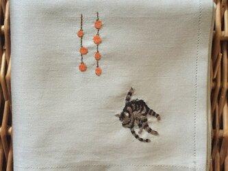 ハンカチ 猫と干し柿の画像