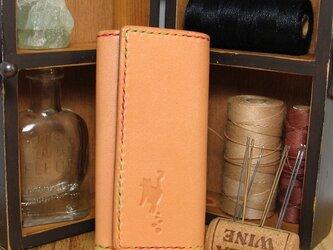 手縫いの牛革キーケース(ナチュラル もみじ糸)の画像