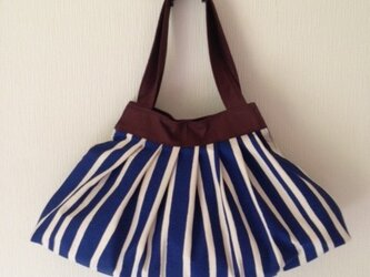 ワンピースの様なバッグ♪ストライプブルー×ハーシーズチョコ♪の画像