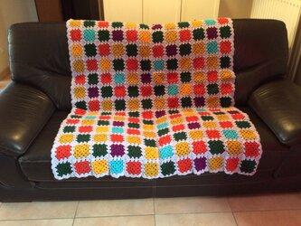 レトロ調手編みブランケットの画像