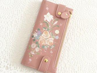 花ペイント カードケース(サーモンピンク)_バラとユリ【受注制作】の画像
