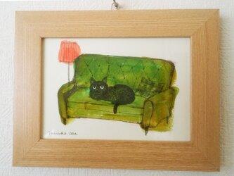 猫と椅子(原画)の画像