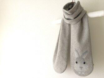 暖かウール 隠れウサギマフラー  の画像