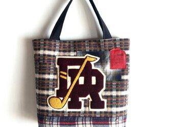 tote bag/ヴィンテージ ワッペンとチェック柄のトートバッグ    ■tf-302の画像