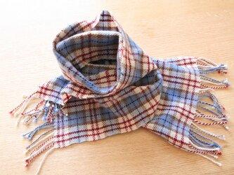 カシミヤのグレンチェック手織りマフラー(petit)の画像