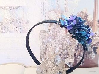 **irodoru**乙女さんの夢色想い.。*コットンリボンとブルーなお花のエレガントなカチューシャ**の画像