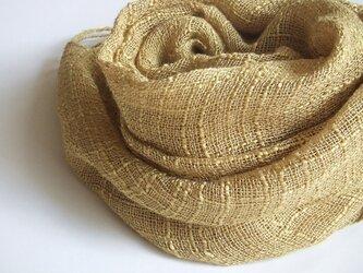 手織りシルク×リネンのストール・・マスタードの画像