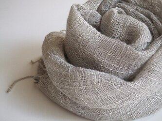 手織りシルク×リネンのストール・・グレーの画像