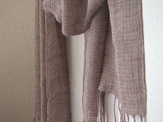 手織りシルク×リネンのストール・・ココアの画像