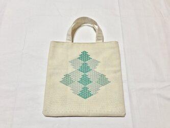 三階菱の手提げ(緑)の画像
