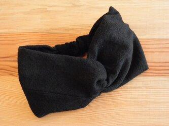 ねじりターバン ヘアバンド 黒のウールガーゼの画像