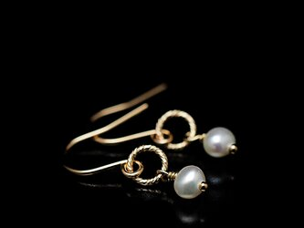 14KGF Square Wire Earrings / Pearlの画像