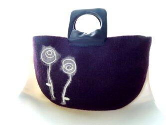 大人のトートバッグ エレガントローズ *紫紺*の画像
