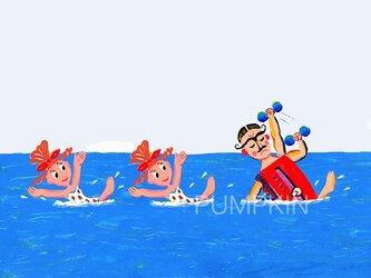 Mrマッスル-シンクロトレ M-A4-09  アクリル画 CG イラスト   トレーニング  プールの画像