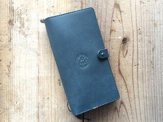 栃木レザー ロングサイズのパスポートケース&トラベルノート ブルー ギフト トラベル革小物の画像
