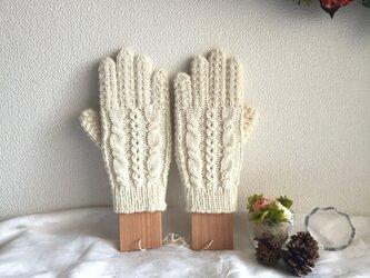 【再販♪】★☆手編み♪模様編み5本指手袋(洗濯機で洗えます♪)☆★の画像