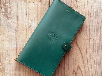 ヌメ革 ロングサイズのパスポートケース&トラベルノート グリーン ギフト トラベル革小物の画像