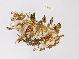 アンティークのゴールドリーフと布花のヘッドドレス 《祝い事》の画像
