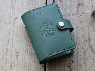 牛革 カードホルダー グリーン カード20枚収納 ギフト トラベル革小物の画像