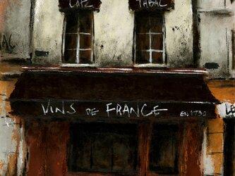 風景画 パリ 油絵「通りのカフェ」の画像