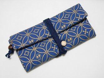 #道中財布 デニム製 紺 #髑髏七宝 金の画像