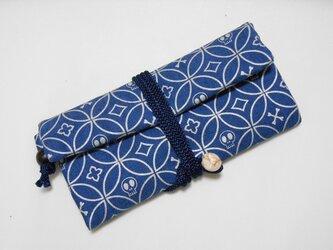 #道中財布 デニム製 紺 #髑髏七宝 銀の画像