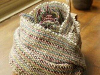手織りマフラー あられ +Silkの画像
