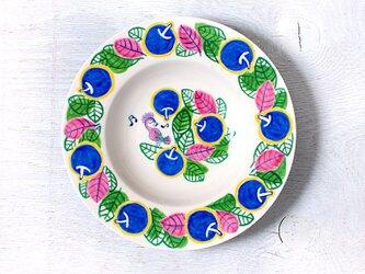 「アップル&リーフと歌う鳥(ブルー)」パスタ皿の画像