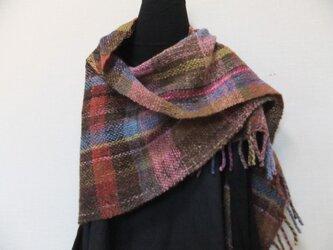 手紡ぎ手織りのショール #2の画像