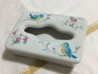 シアワセの青い鳥とお花、のティッシュボックスの画像
