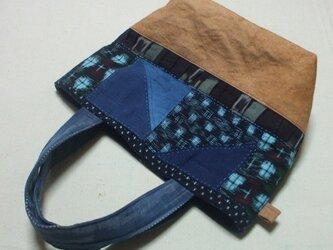 藍染つなぎのトートバック 木綿の画像