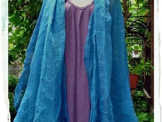 自然染め リネンのストール(藍グラデーション)の画像