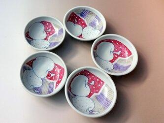 豆皿5枚セットりんご柄の画像