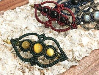 天然石のマクラメ編みヘアピン【ゴシック調】(グリーン系・ゴールデンタイガーアイ)の画像