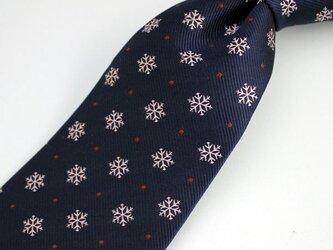 雪の結晶柄・ミッドナイトブルー/受注制作・ハンドメイドネクタイの画像