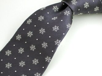 雪の結晶柄・チャコールグレー/ネクタイ【受注制作】の画像