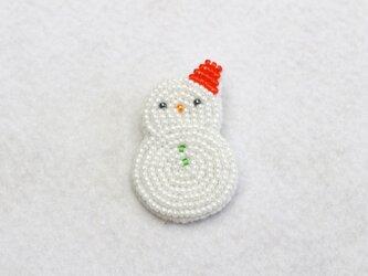 雪だるまブローチの画像