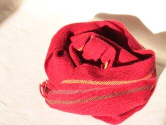 きれいめ赤のマフラー ウール&アルパカ 手織りの画像